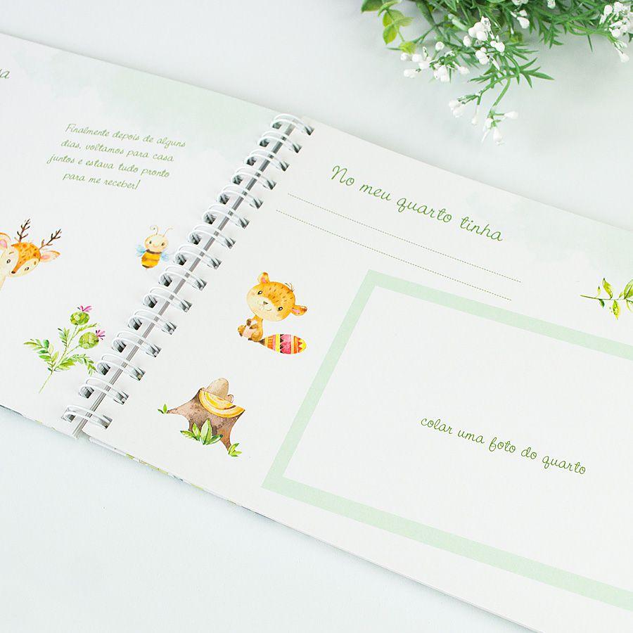 Livro do Bebê Personalizado menino safari  - Valentina Milan Papelaria
