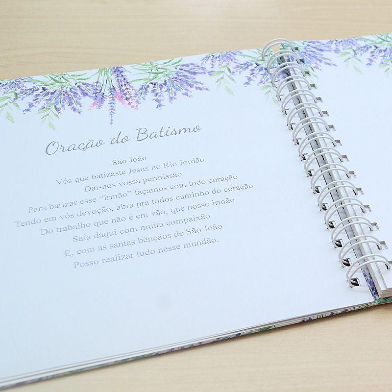 Livro personalizado meu Batismo memórias e recordações tema floral lilás  - Valentina Milan Lembrancinhas