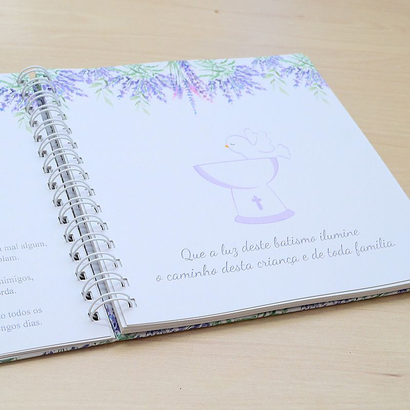 Livro personalizado meu Batismo memórias e recordações tema folhagens e pombinha  - Valentina Milan Lembrancinhas e Papelaria