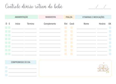 Controle de Rotina do Bebê nuvem e chuva de amor  - Valentina Milan Papelaria
