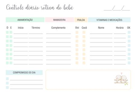 Rotina do Bebê e controle de mamadas ursinho baloeiro  - Valentina Milan Papelaria