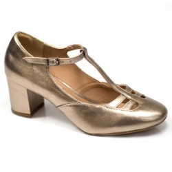 Sapato Boneca Retrô em Couro Champagne