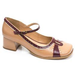 Sapato Retrô em couro Aurora