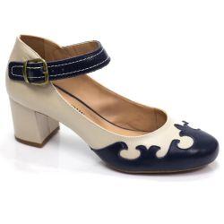Sapato Retrô em Couro Cookie