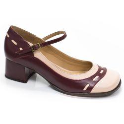 Sapato Retrô em couro Emily