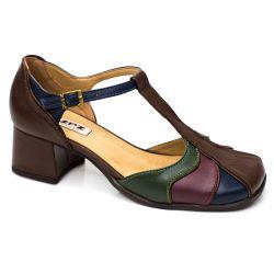 Sapato retrô em couro Martina