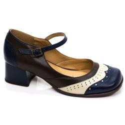 Sapato Retrô em couro Meghan