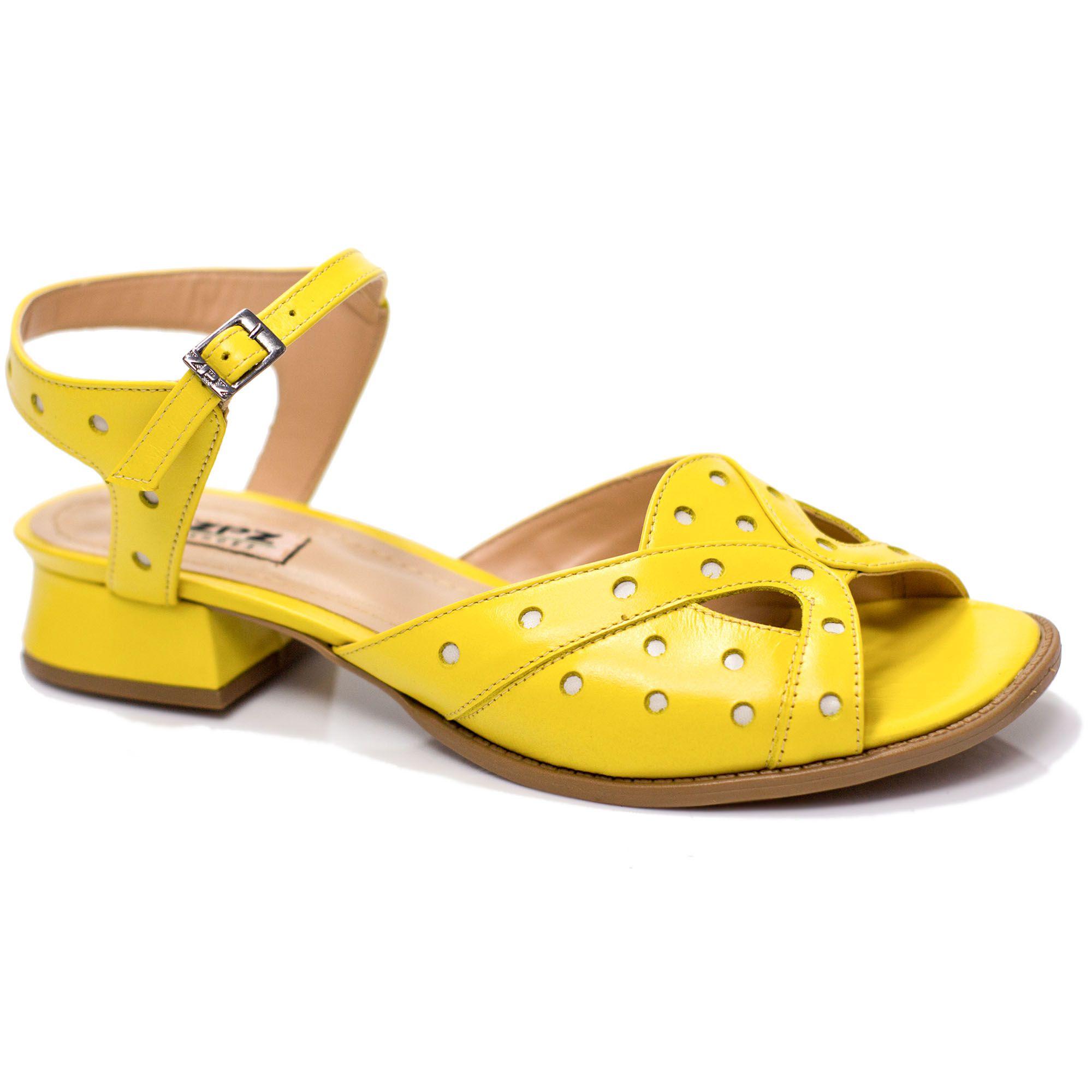 Sandália Retrô em couro Sun Cor Amarelo e Verde
