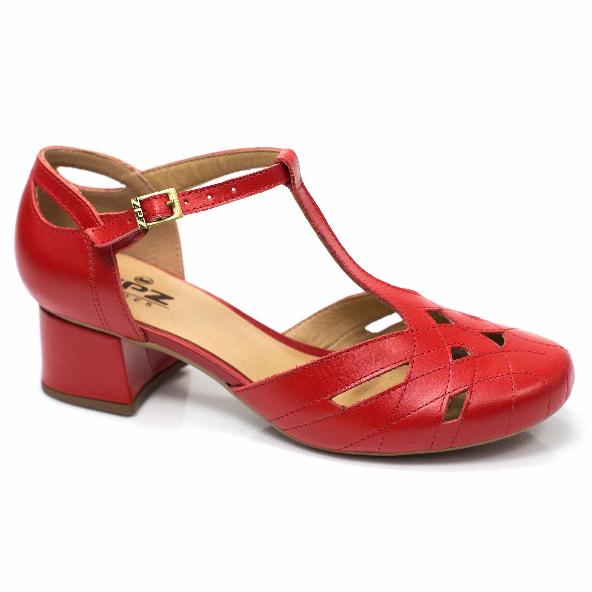 Sapato Boneca Retrô em couro Anis