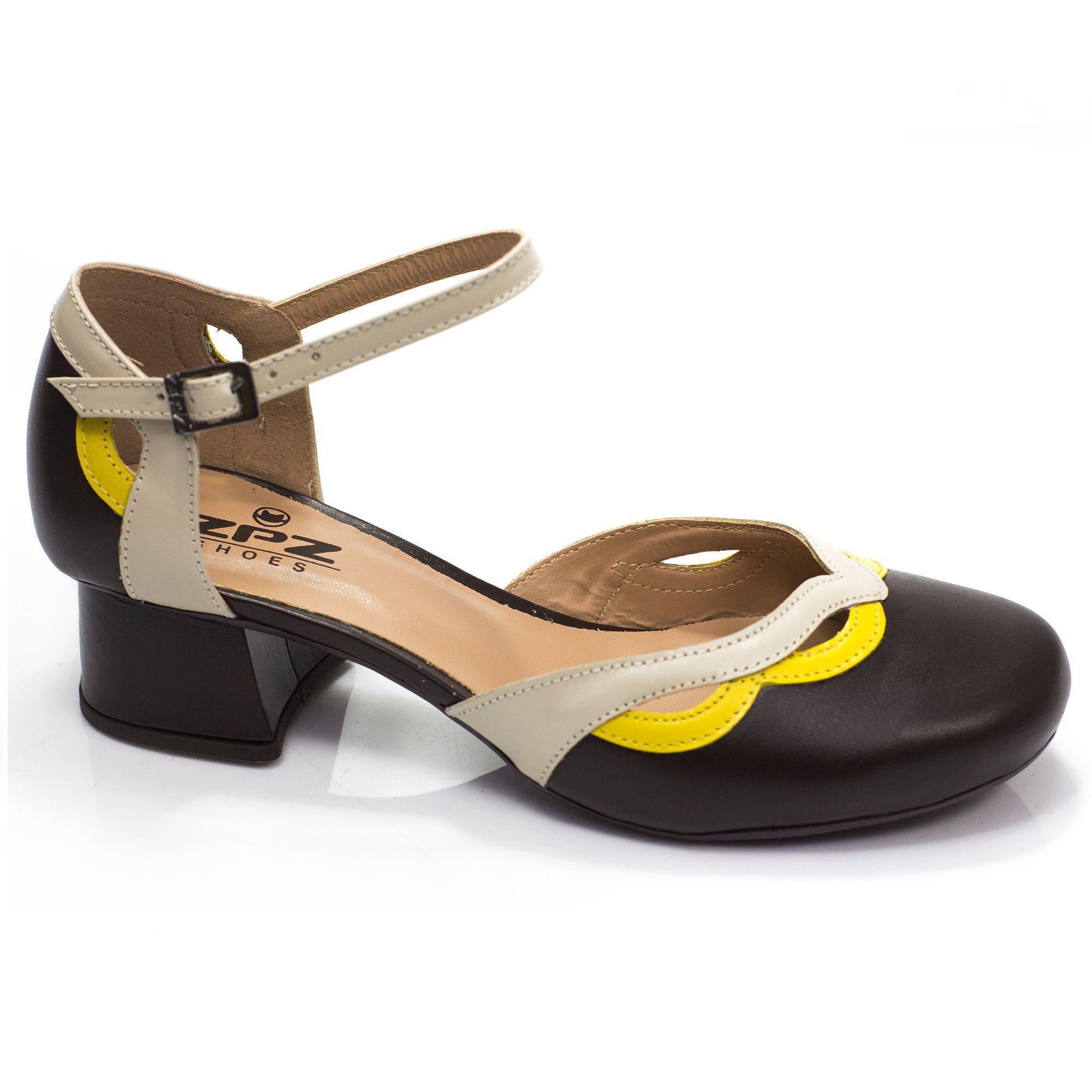 Sapato Boneca Retrô em couro Daisy