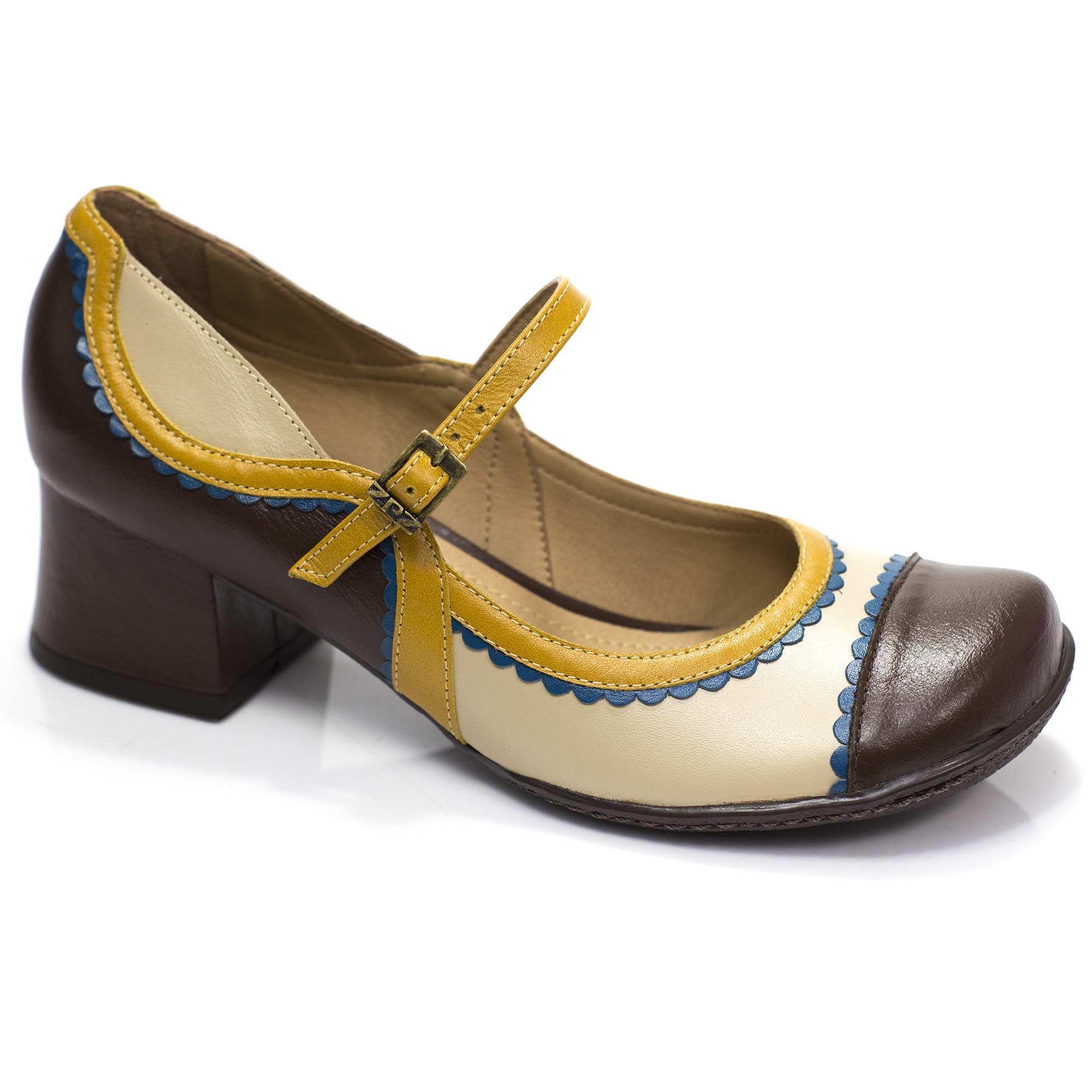 Sapato Boneca Retrô em couro Evie
