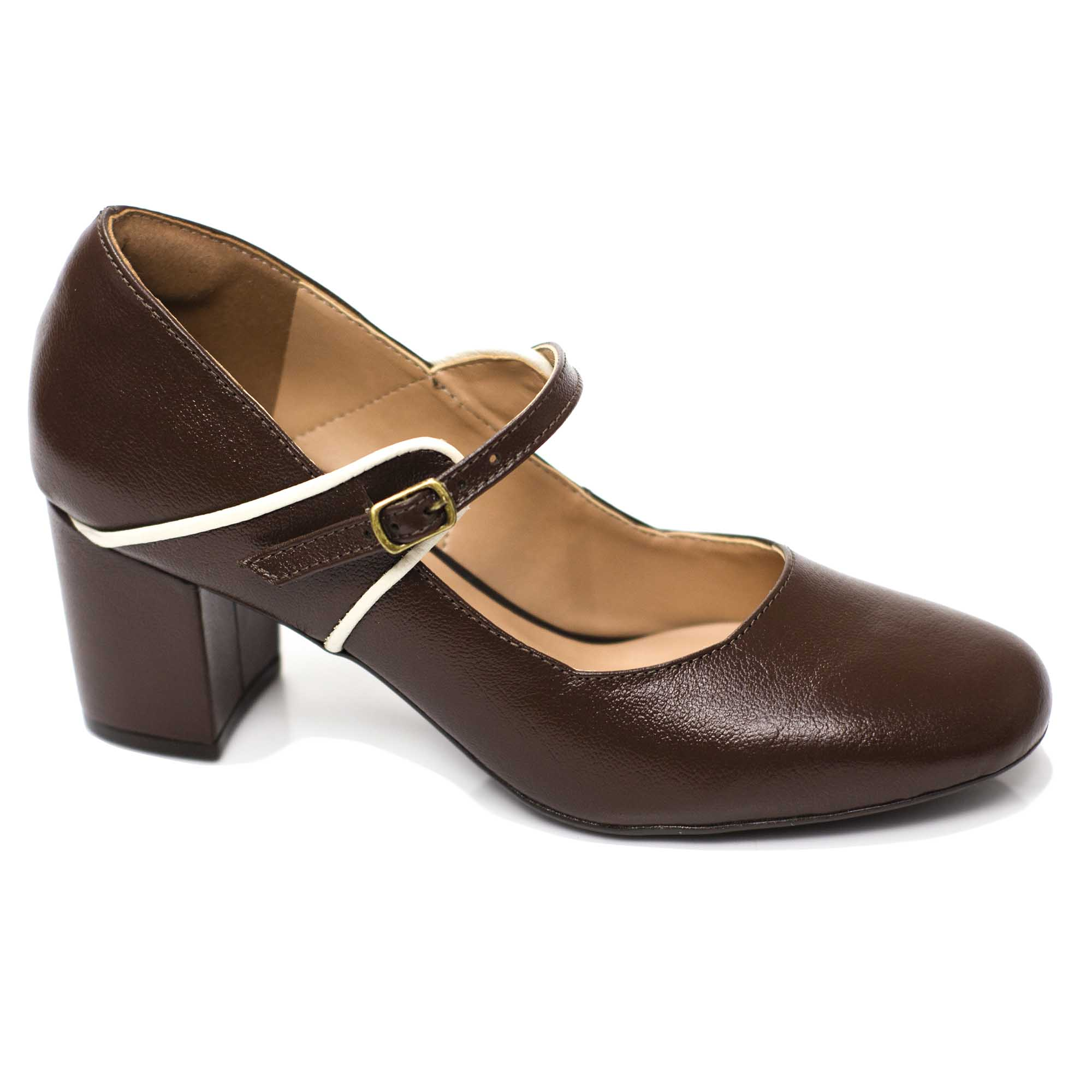 Sapato Boneca Retrô em Couro Pallet