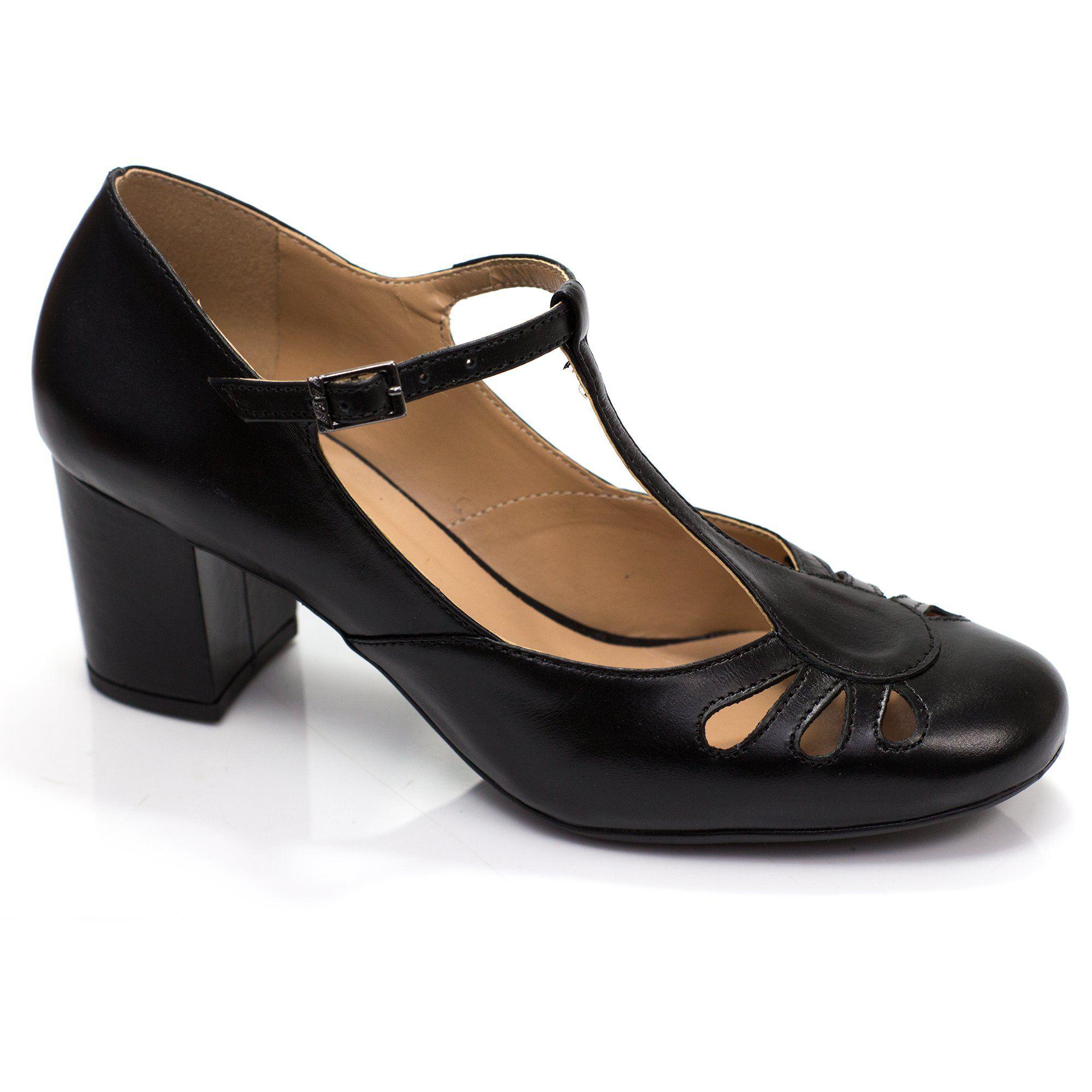 Sapato Boneca Retrô em couro Prímula