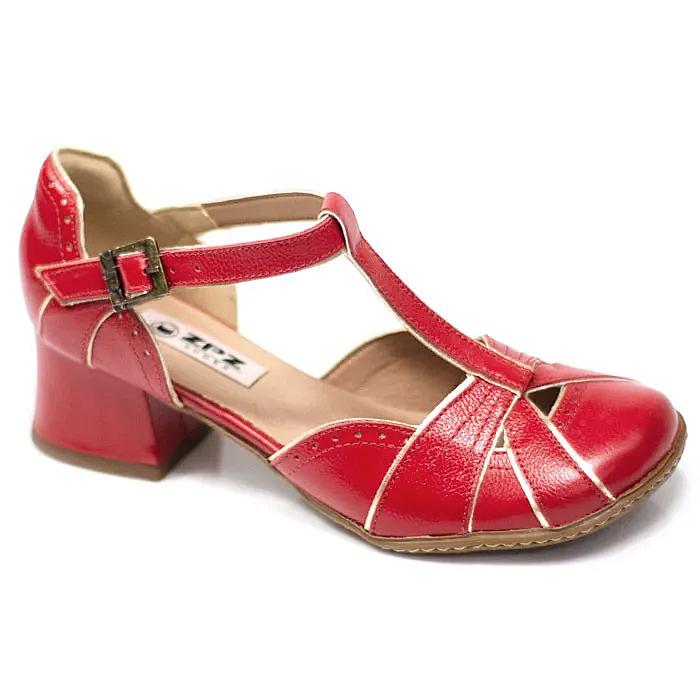 Sapato Boneca Retrô em couro Tyra