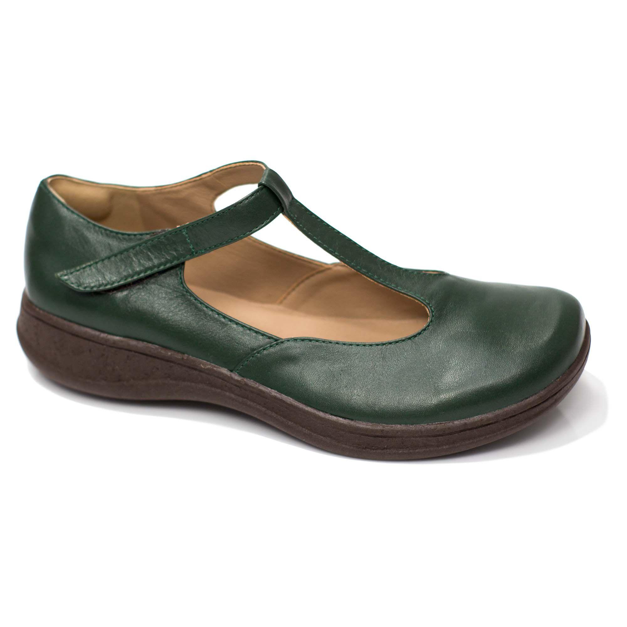 Sapato Comfort em Couro Elf Cor Verde Militar e Café
