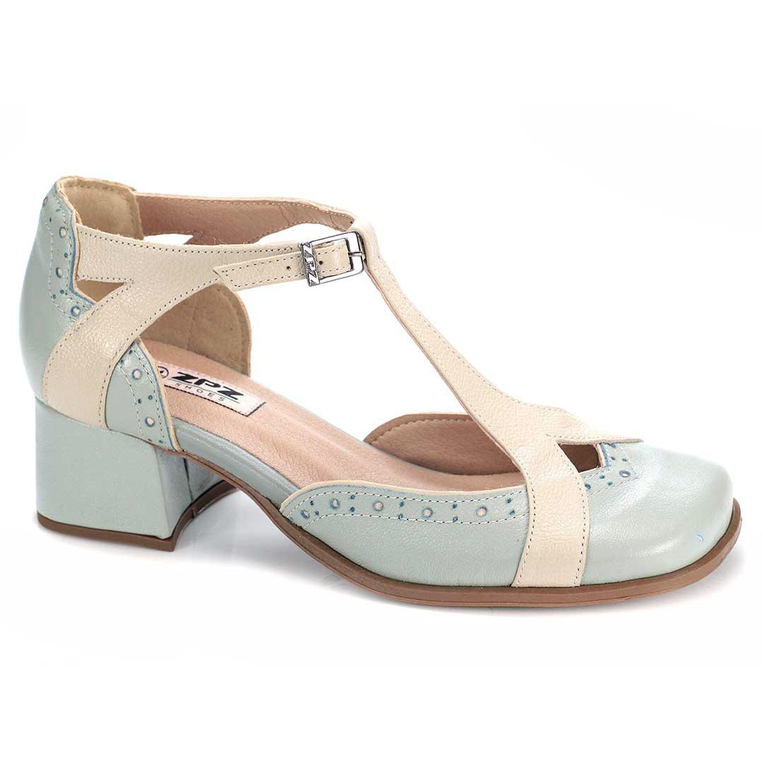 Sapato Retrô em couro Acqua