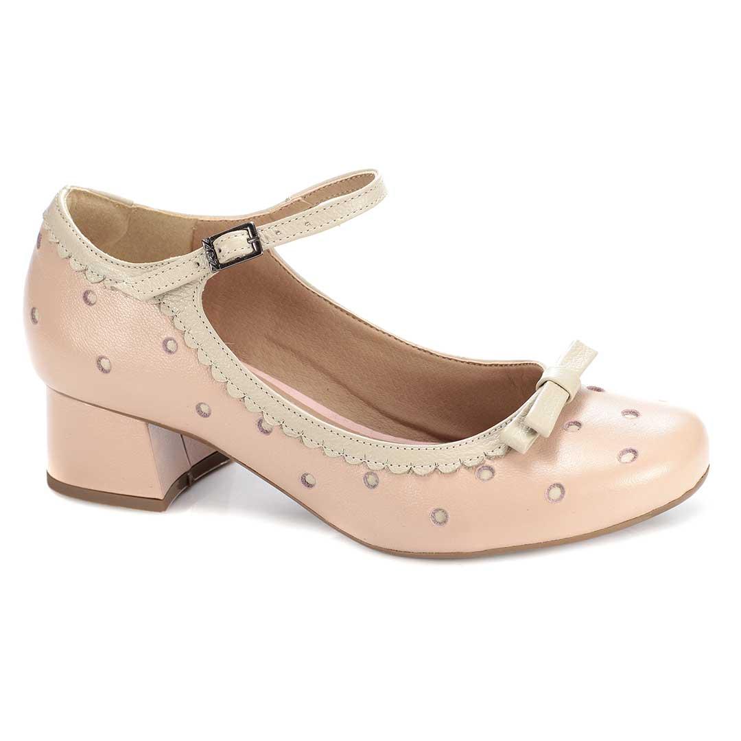 Sapato Retrô em couro Alice