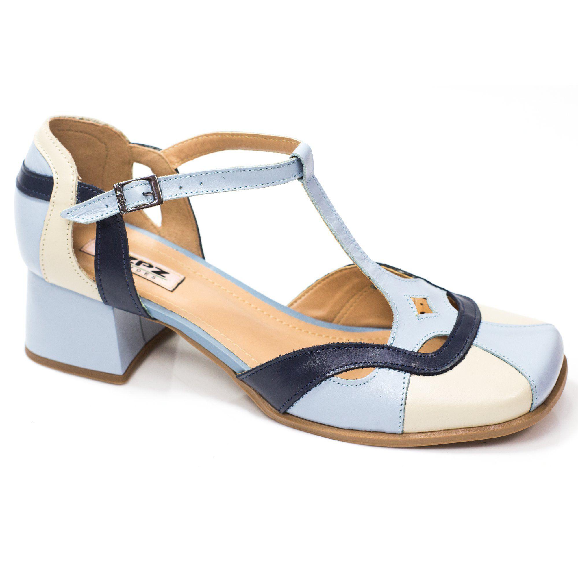 Sapato Retrô em couro Bromélia