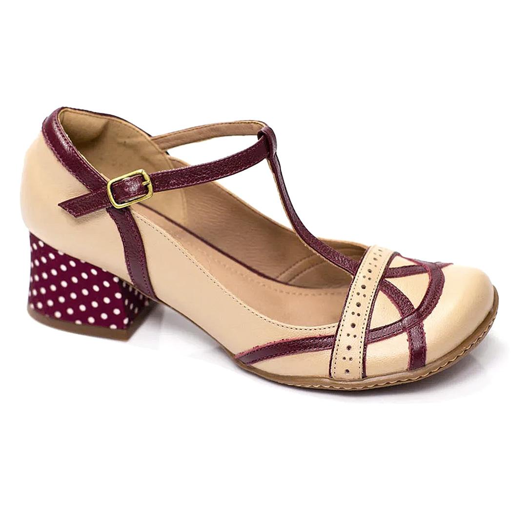 Sapato Retrô em Couro Dolomita