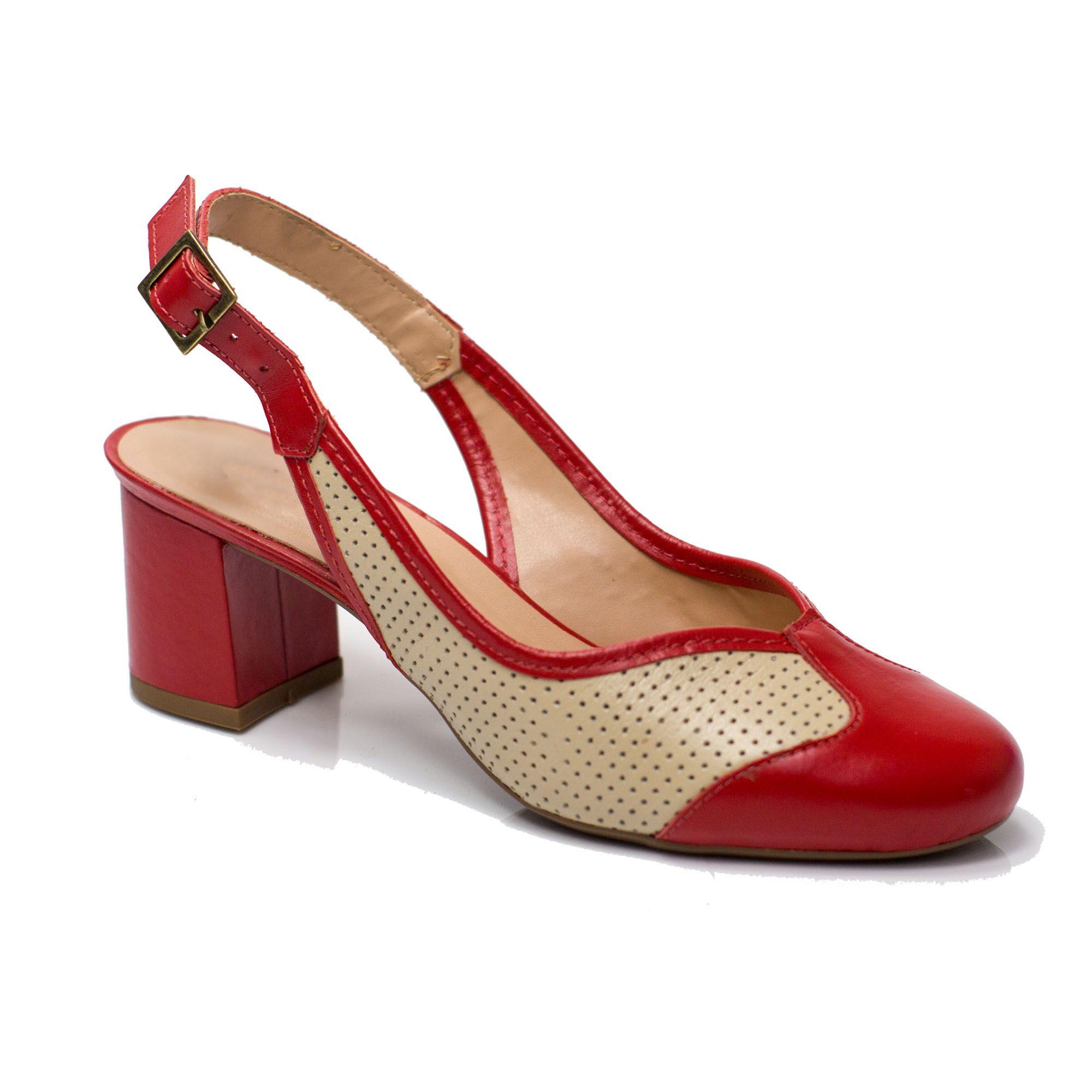 Sapato Retrô em Couro Granita