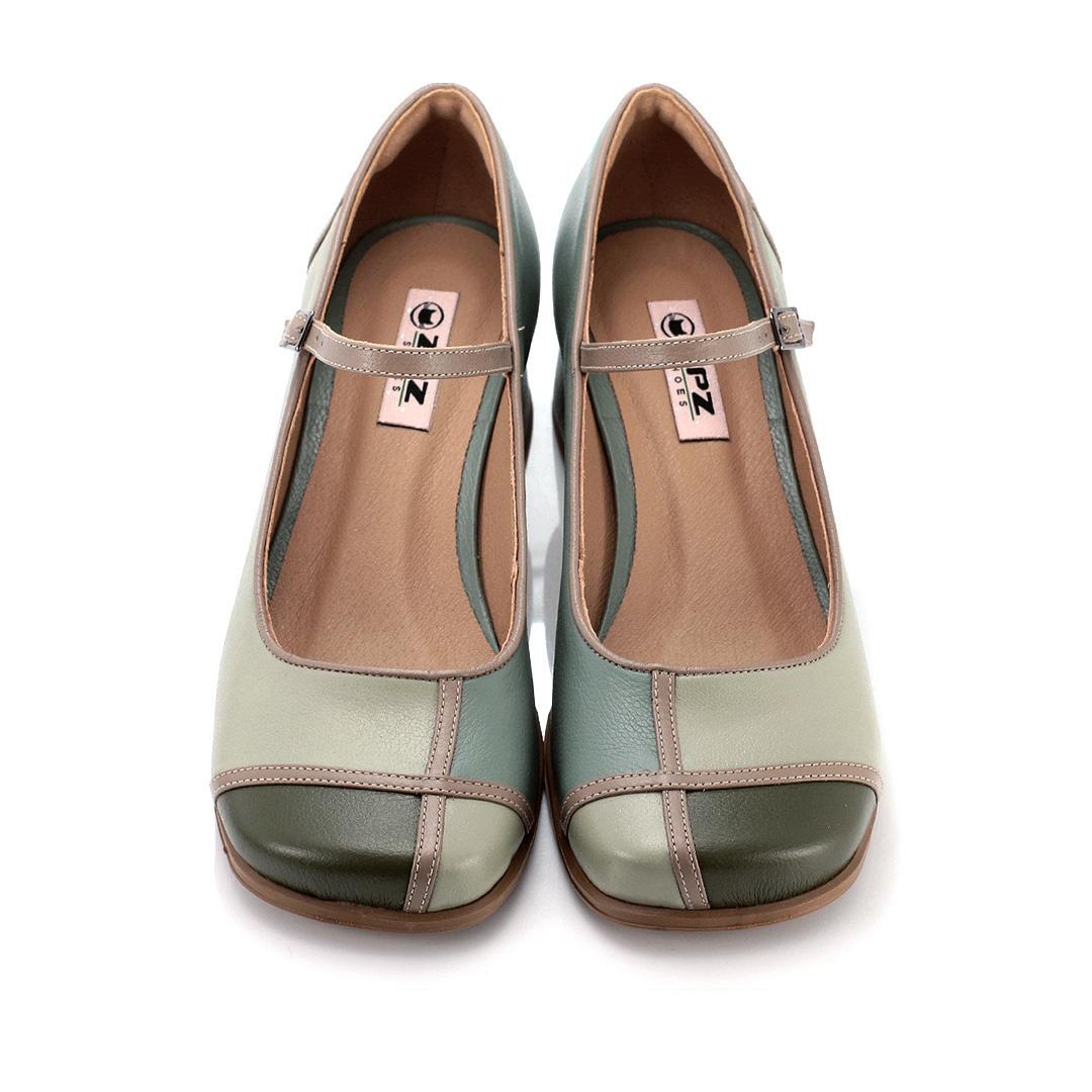 Sapato Retrô em couro Mondrian