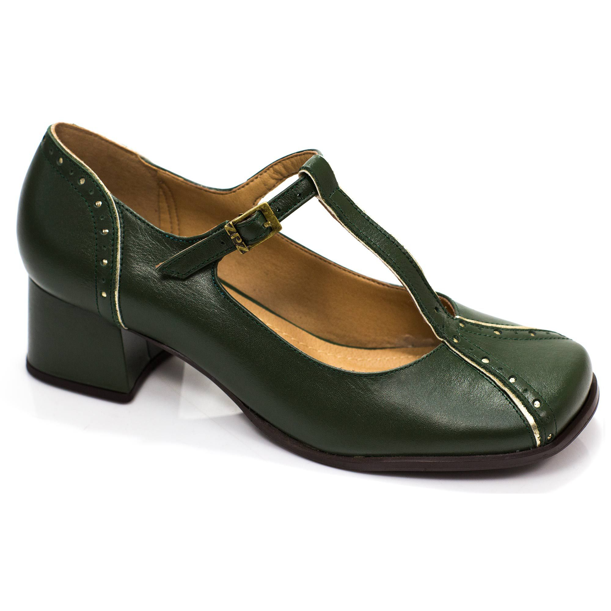 d9c98220bd ZPZ SHOES Sapato Retrô em couro Tiana