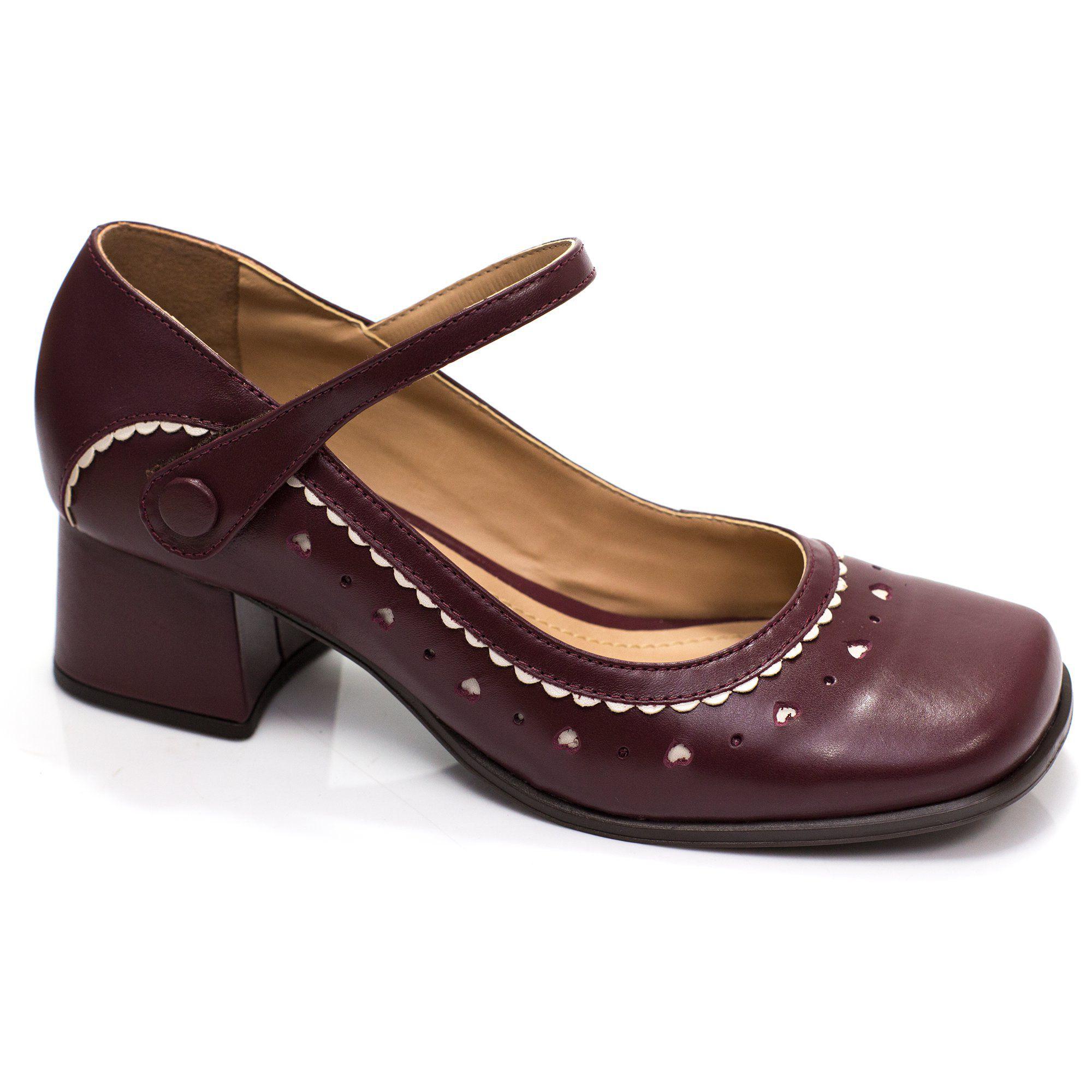 Sapato Retrô em couro True Love