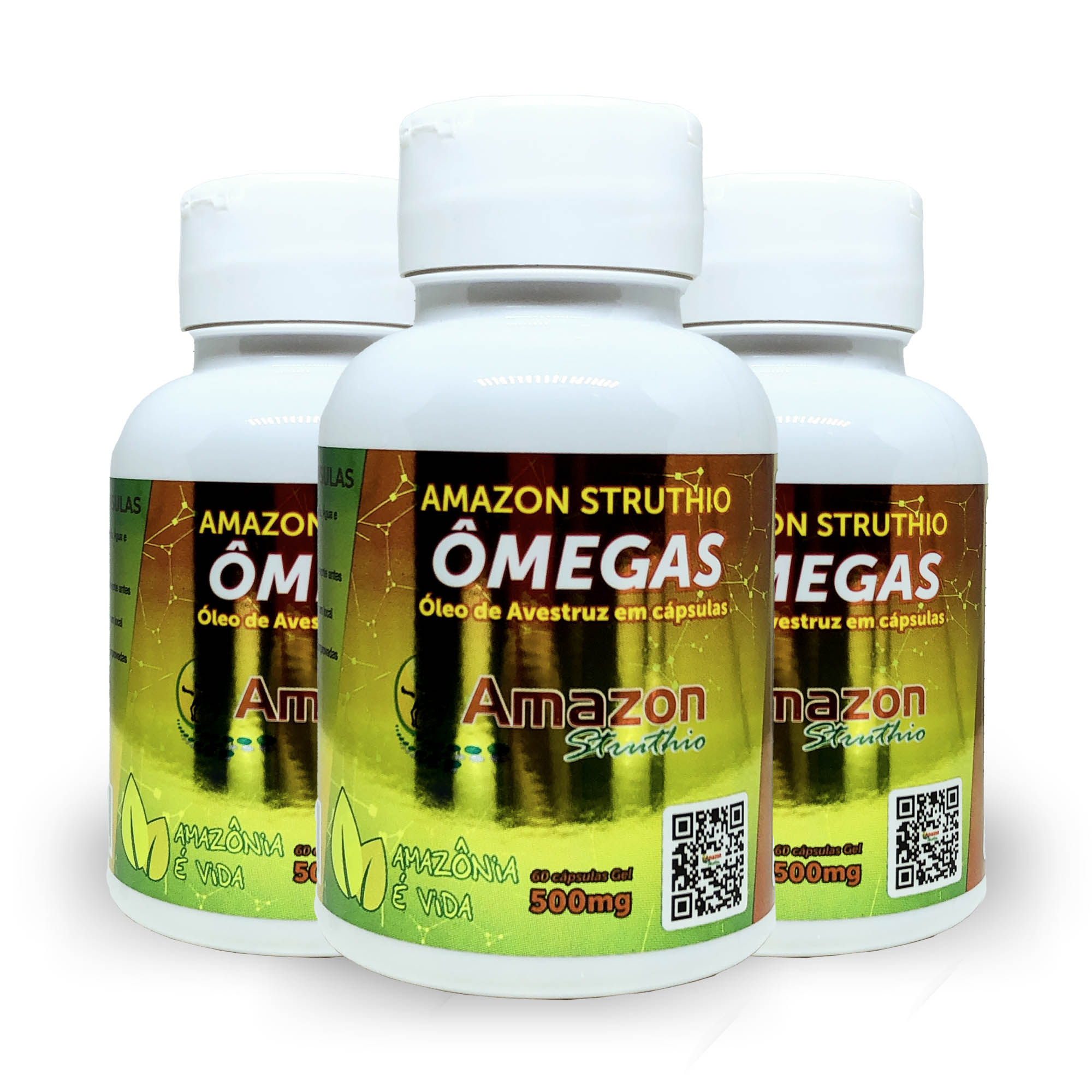 Kit 3x Óleo de Avestruz Cápsulas - Original - Ômega 3, 6, 7 e 9 Vitamina A e B1