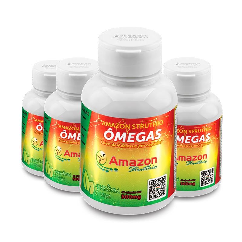 Kit 4x Óleo de Avestruz Cápsulas - Ômega 3, 6, 7 e 9 Vitamina A e B1