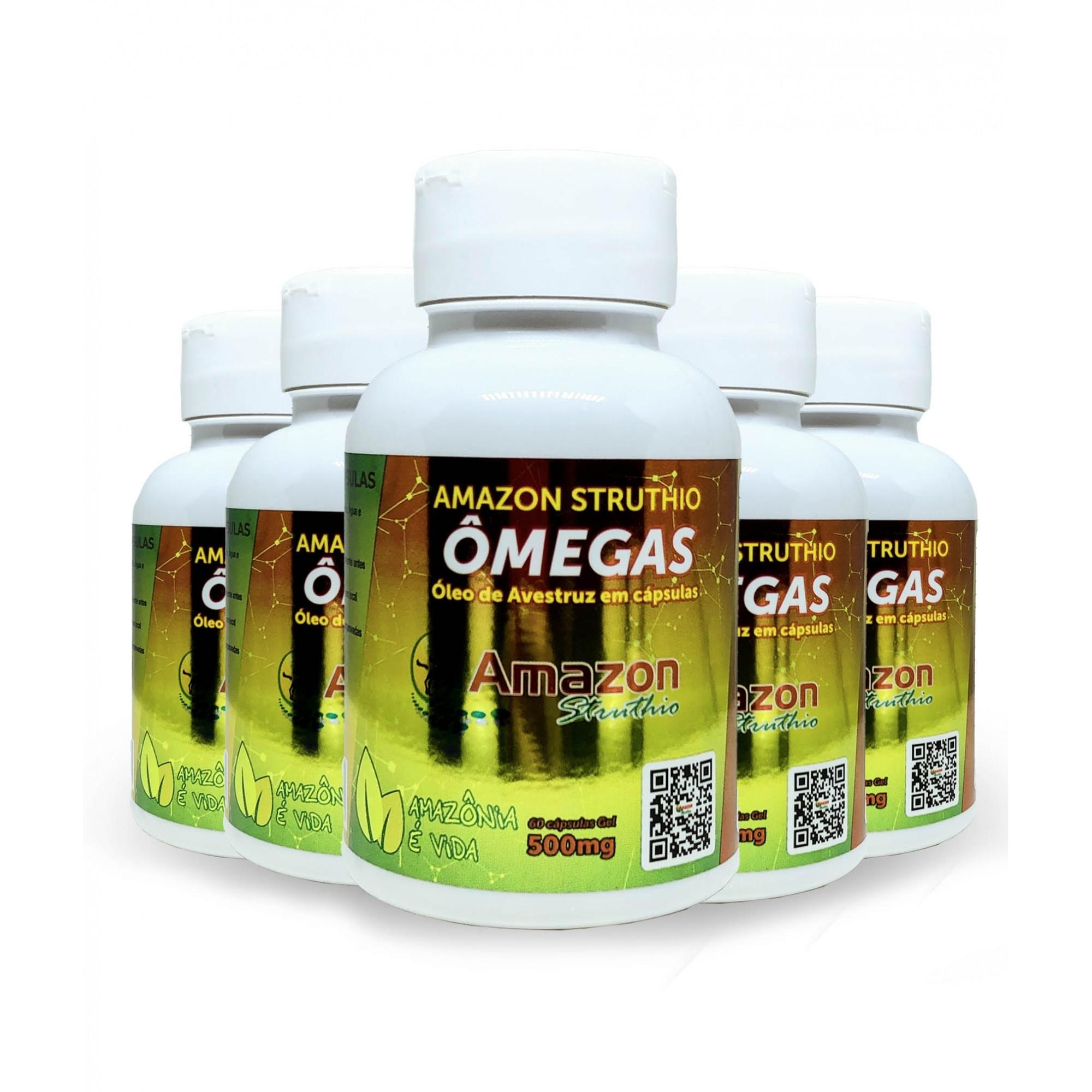 Kit 5x  Ômega 3, 6, 7 e 9 - Óleo de Avestruz Cápsulas - Original - Vitamina A e B1