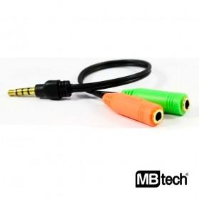 Cabo Adaptador P3 MBTech 1x P3 Macho 2x P2 Femea MB71163