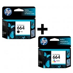 Kit Cartuchos HP 664 Preto e Colorido