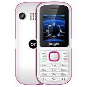 Celular Bright Barra Branco/Rosa, Dual Chip, Câmera, Bluetooth, Rádio FM, MP3