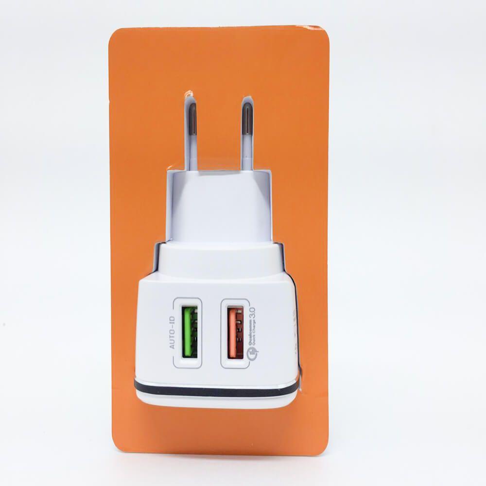 Carregador Kaidi branco 2 entradas USB carga rapida 4.2a KD-102