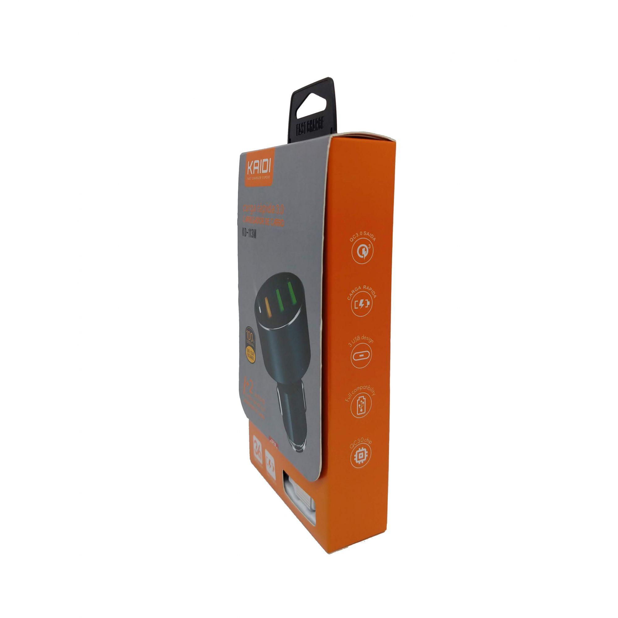 Carregador Veicular KAIDI USB 3.0a KD-113M
