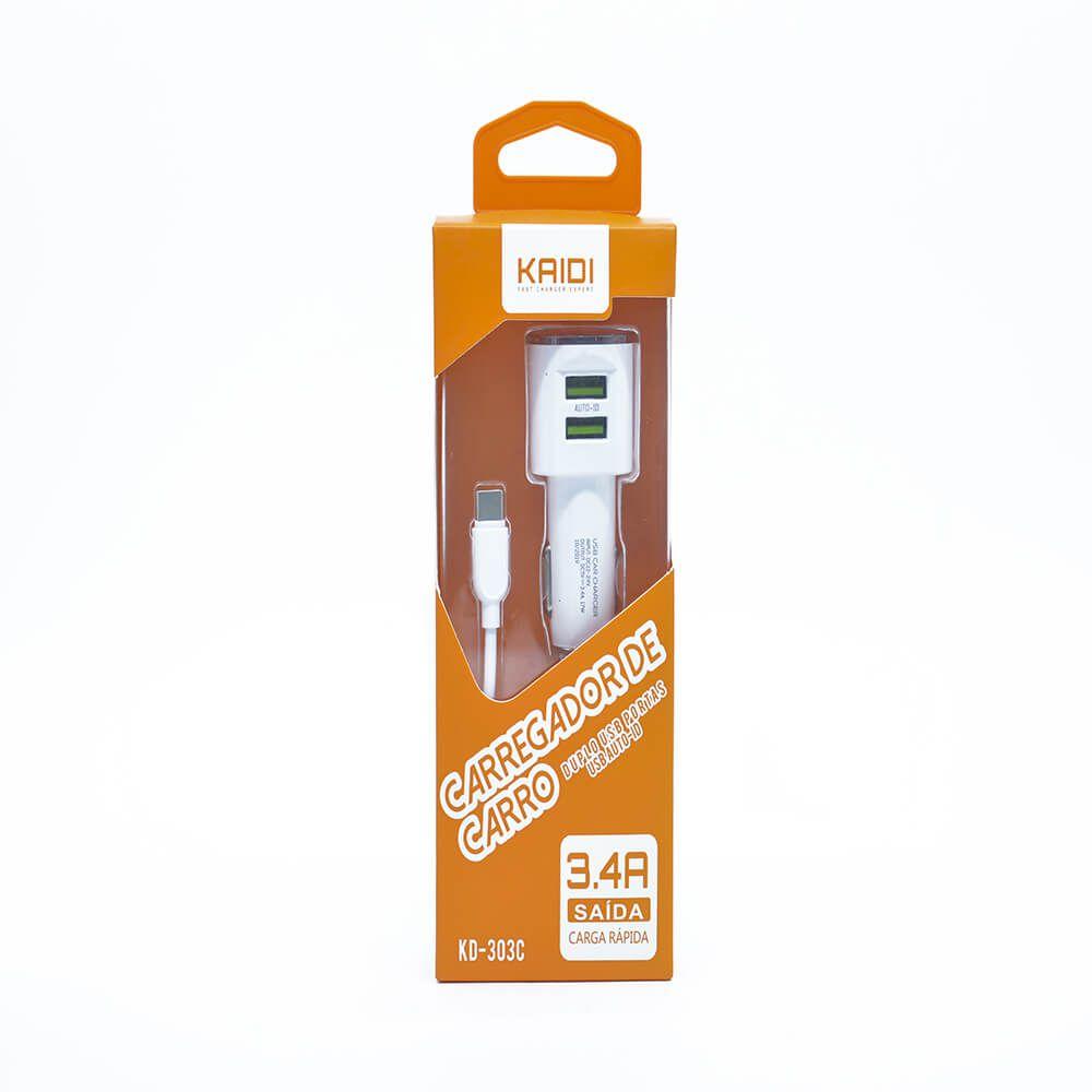Carregador Veicular KAIDI USB Duplo 3.4a KD-303C