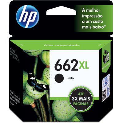 Cartucho de Tinta HP 662 XL Preto Alto Rendimento - CZ105AB