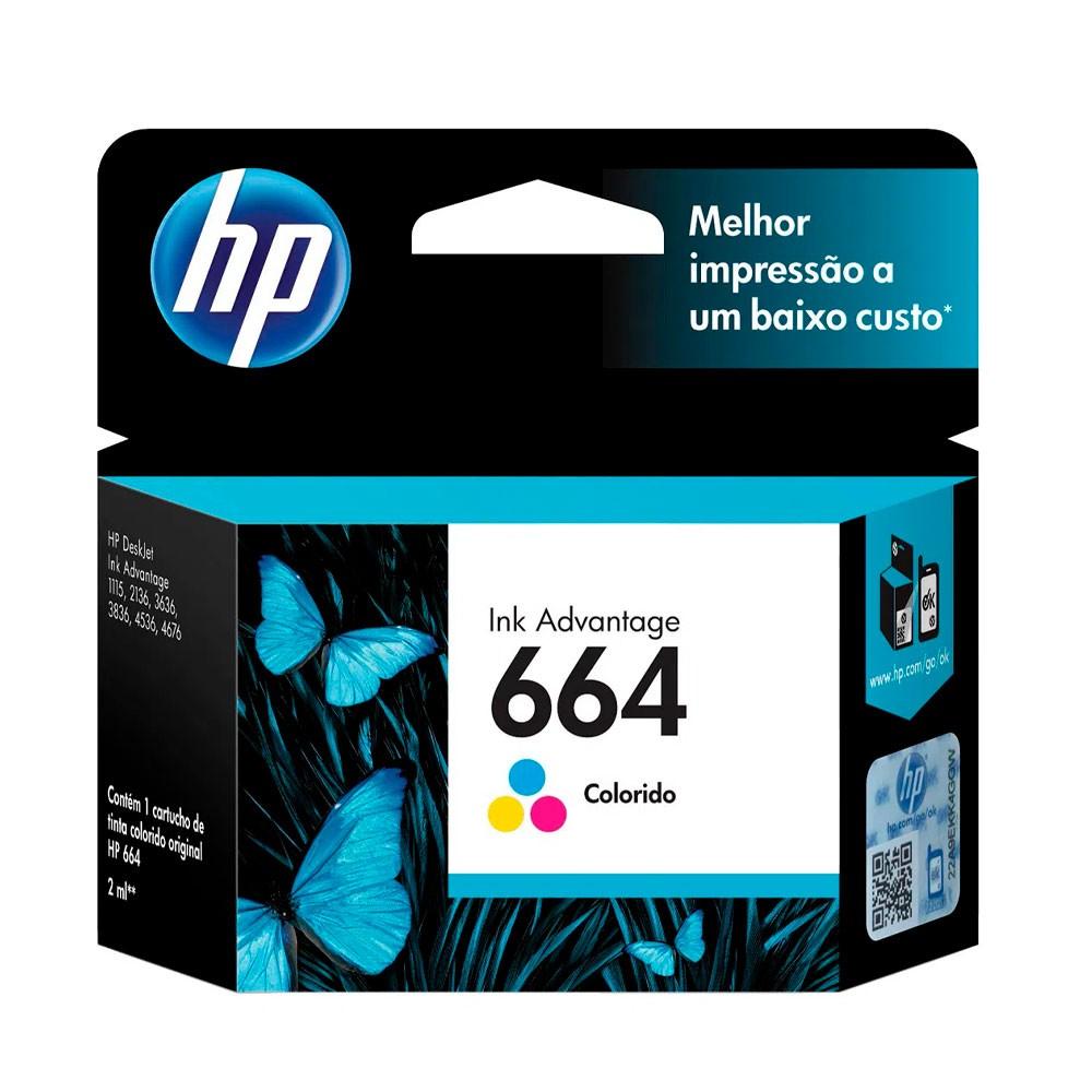 Cartucho de Tinta HP 664 Colorido F6V28AB