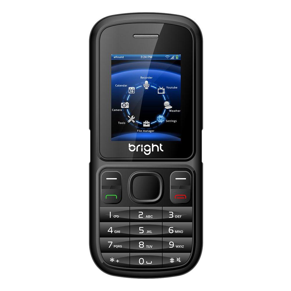 Celular Bright Barra Desbloq. Preto, Dual Chip, Câmera, Bluetooth, Rádio FM, MP3