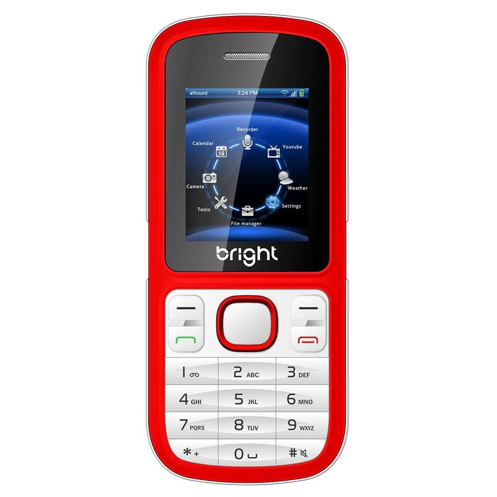 Celular Bright Barra Vermelho Desbloq. Dual Chip, Câmera e Bluetooth
