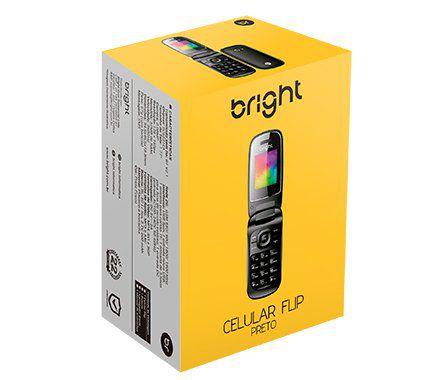 Celular Bright Flip dual chip Preto