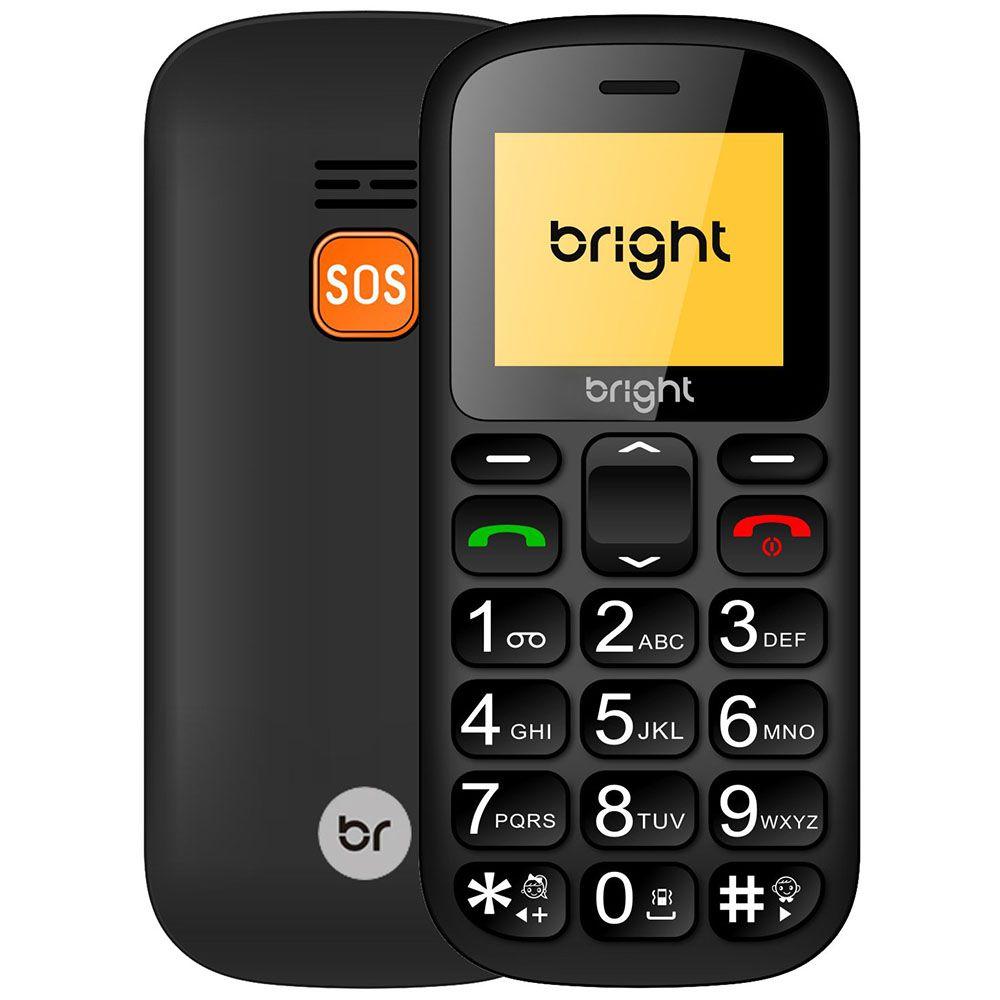 Celular Bright Senior Dual Chip, Botão SOS, Bluetooth 3.0, Radio Fm