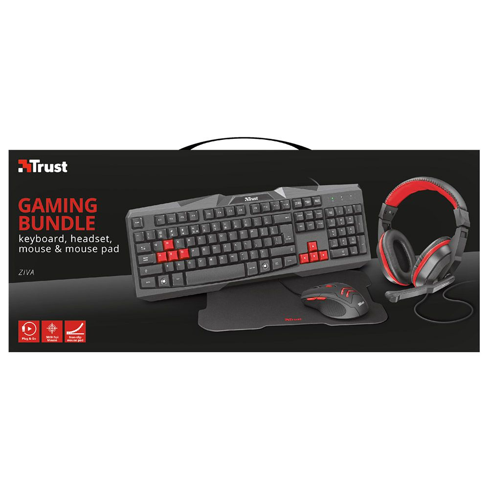 Combo Gamer TRUST ZIVA 4in1 Teclado/Mouse/Mouse Pad/Headset