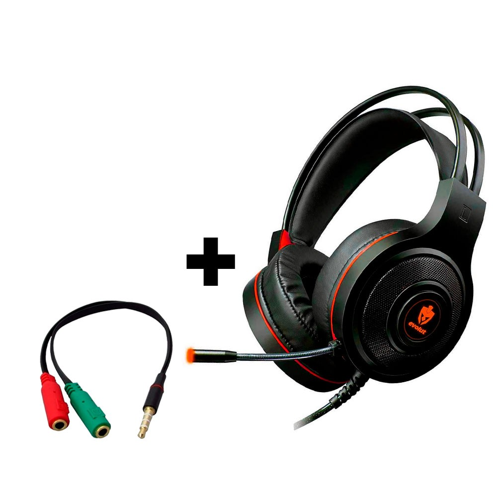 Combo Headset Evolut Têmis Vermelho + Cabo Adaptador EO-02