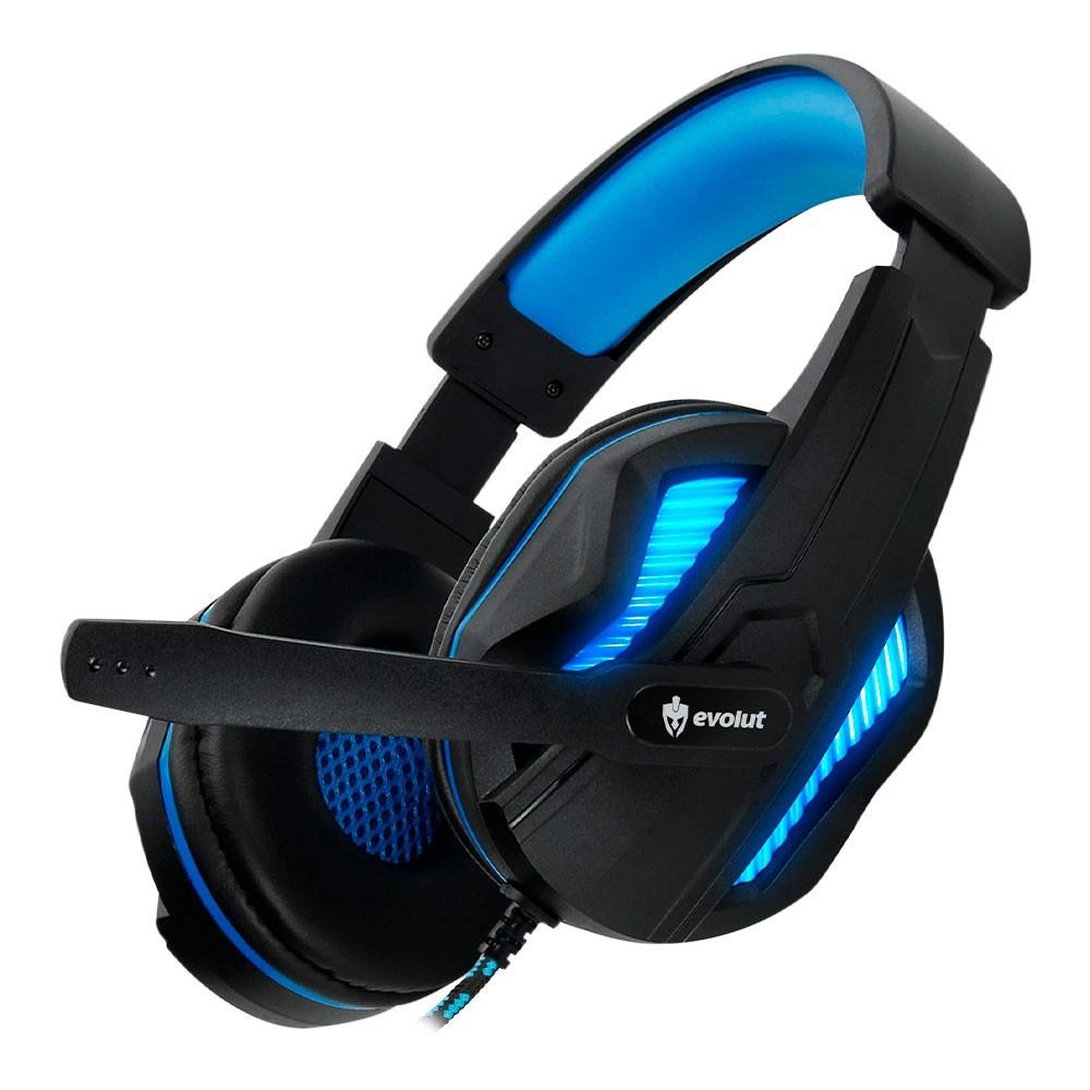 Combo Headset Evolut Thoth Azul + Cabo Adaptador EO-02