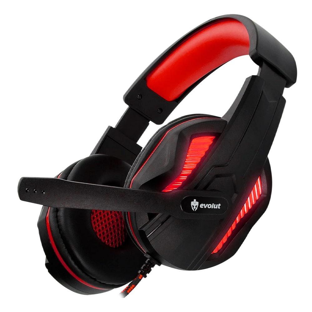 Combo Headset Evolut Thoth Vermelho + Cabo Adaptador EO-02