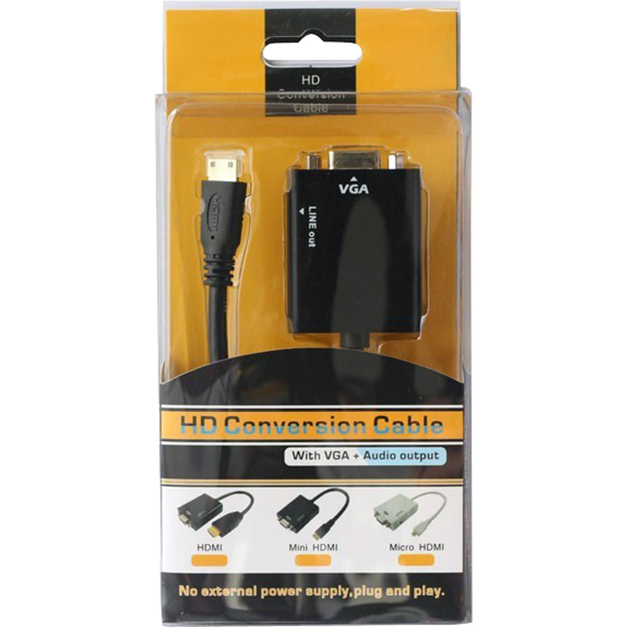 Conversor HDMI Para VGA de Áudio Cabo P2 CN-1072 Preto YUHUA