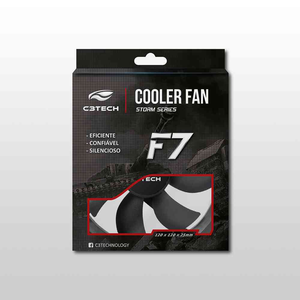 Cooler Gabinete C3TECH F7-100BK STORM 12x12x2,5 Preto