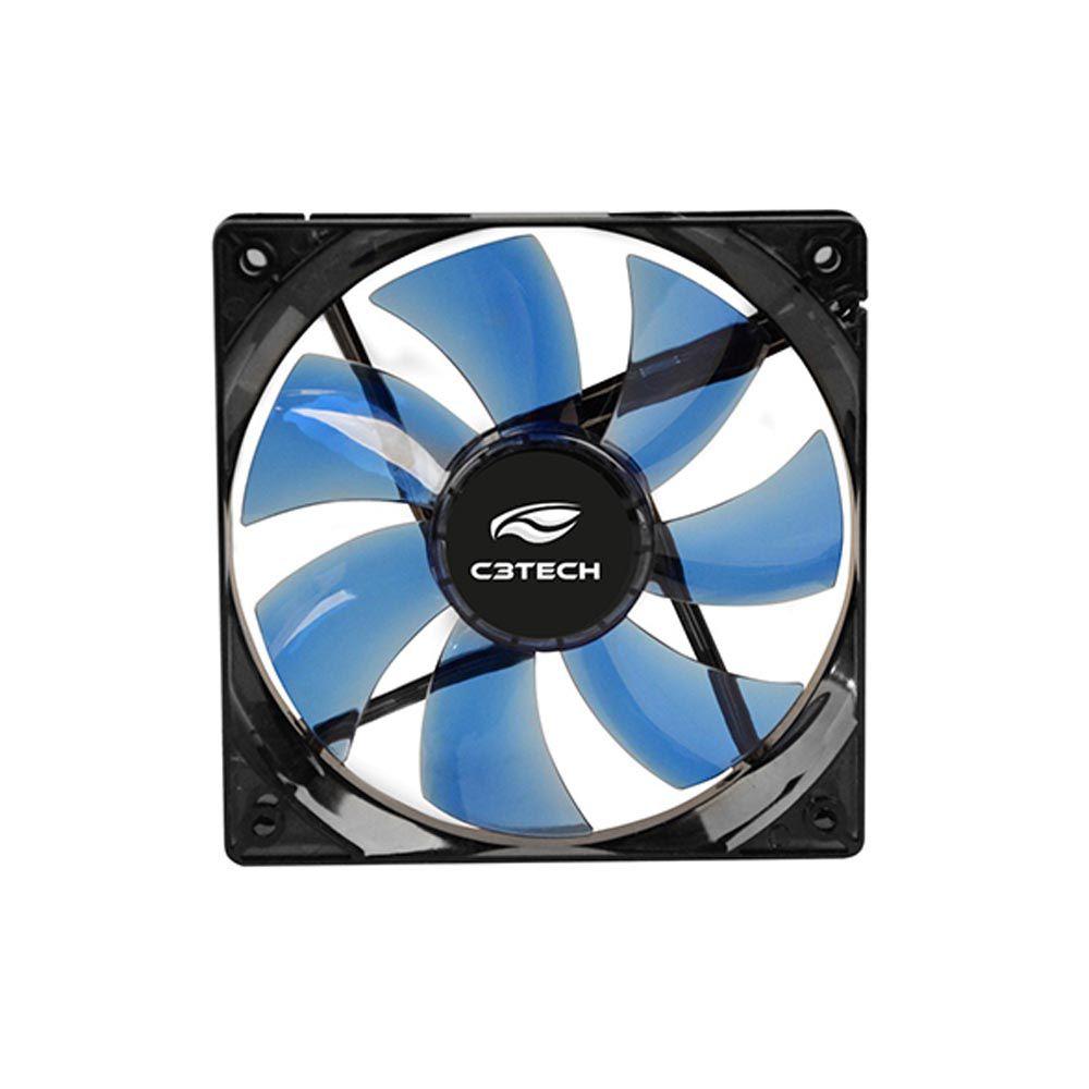 Cooler Gabinete C3TECH F7-L100 BL STORM 12x12x2,5 Led Azul