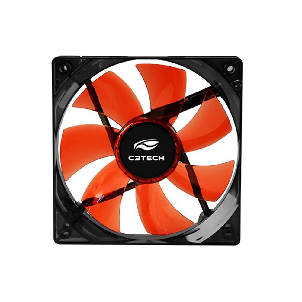 Cooler Gabinete C3TECH F7-L100RD STORM 12x12x2,5 Led Vermelho